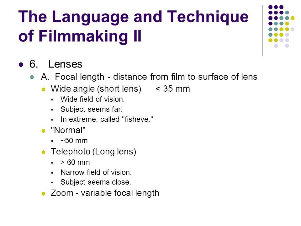 The Language and Technique of Filmmaking II 6.Lenses A.