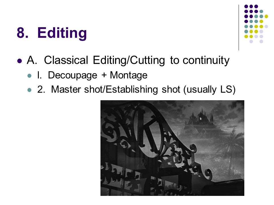 8. Editing A.Classical Editing/Cutting to continuity l.