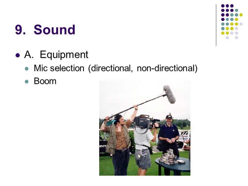 9. Sound A.Equipment Mic selection (directional, non-directional) Boom