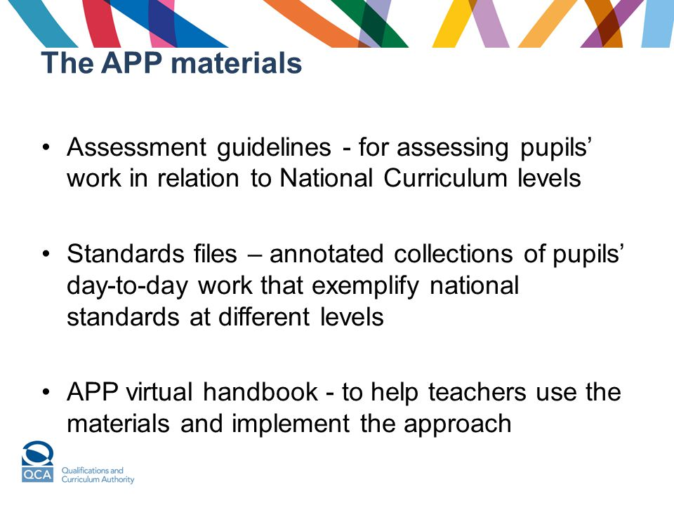 The APP materials Assessment guidelines - for assessing pupils' work in relation to National Curriculum levels Standards files – annotated collections