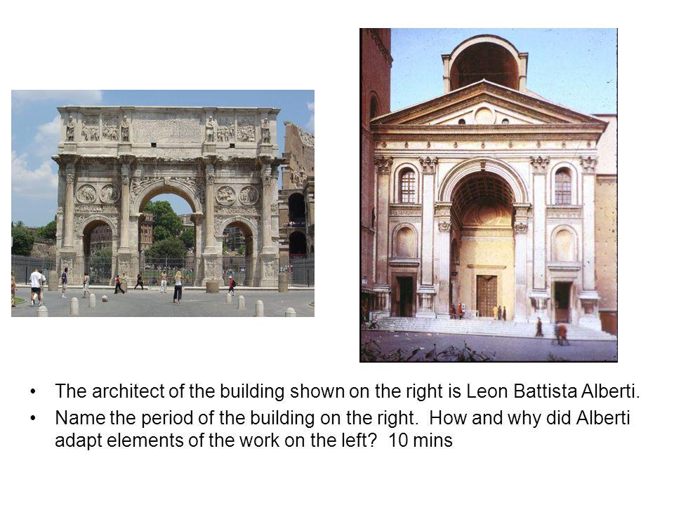 The architect of the building shown on the right is Leon Battista Alberti.