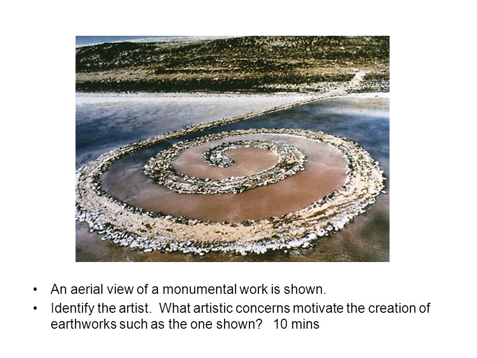 An aerial view of a monumental work is shown. Identify the artist.