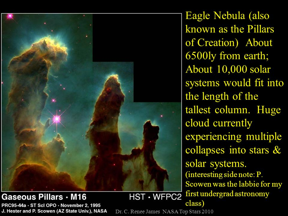 Eagle Nebula (also known as the Pillars of Creation) About 6500ly from earth; About 10,000 solar systems would fit into the length of the tallest column.