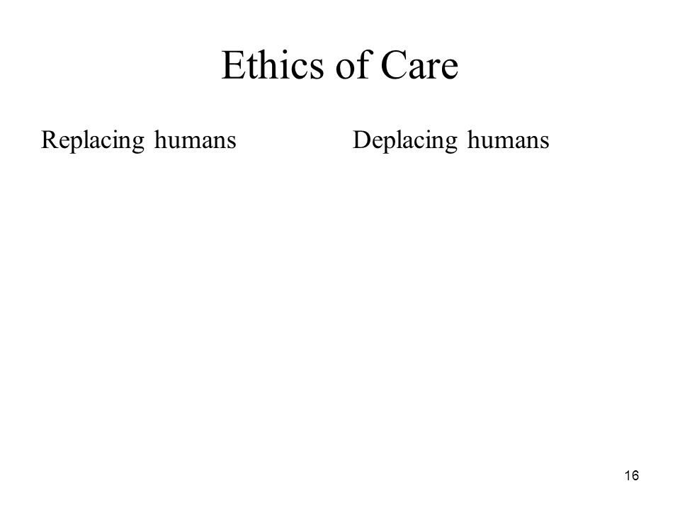 16 Ethics of Care Replacing humansDeplacing humans