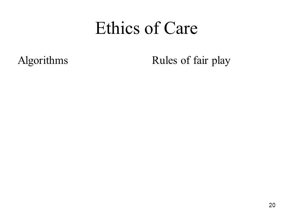 20 Ethics of Care AlgorithmsRules of fair play