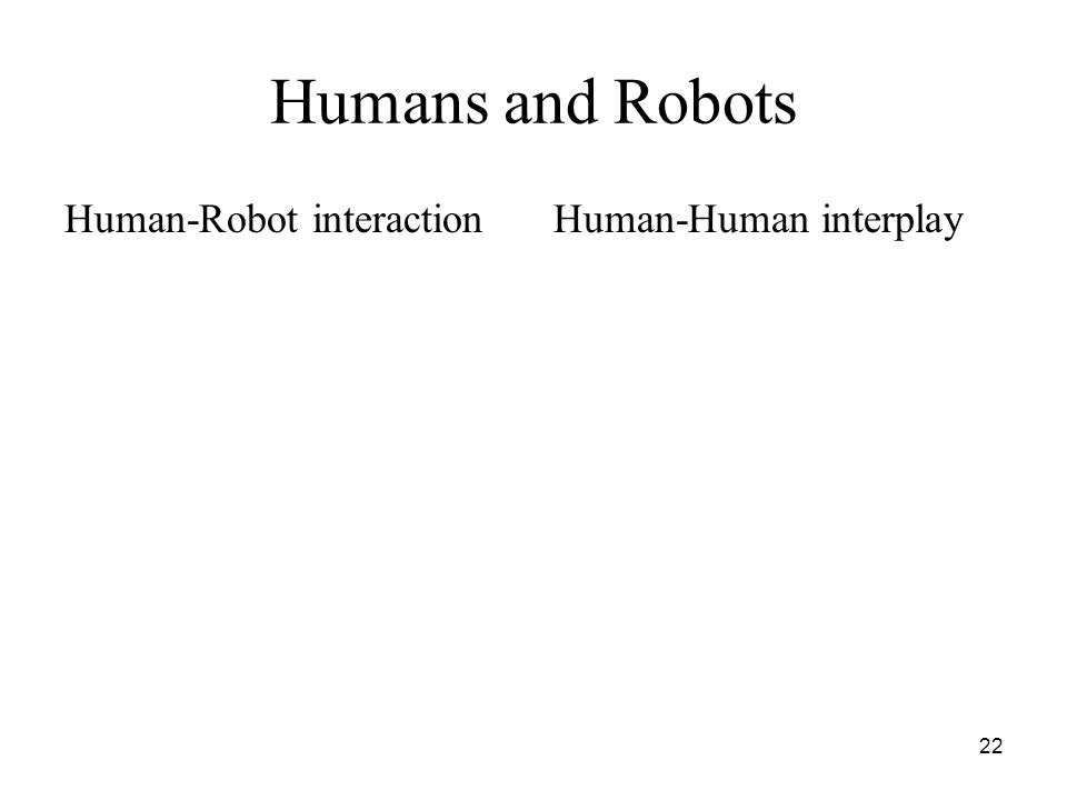 22 Humans and Robots Human-Robot interactionHuman-Human interplay