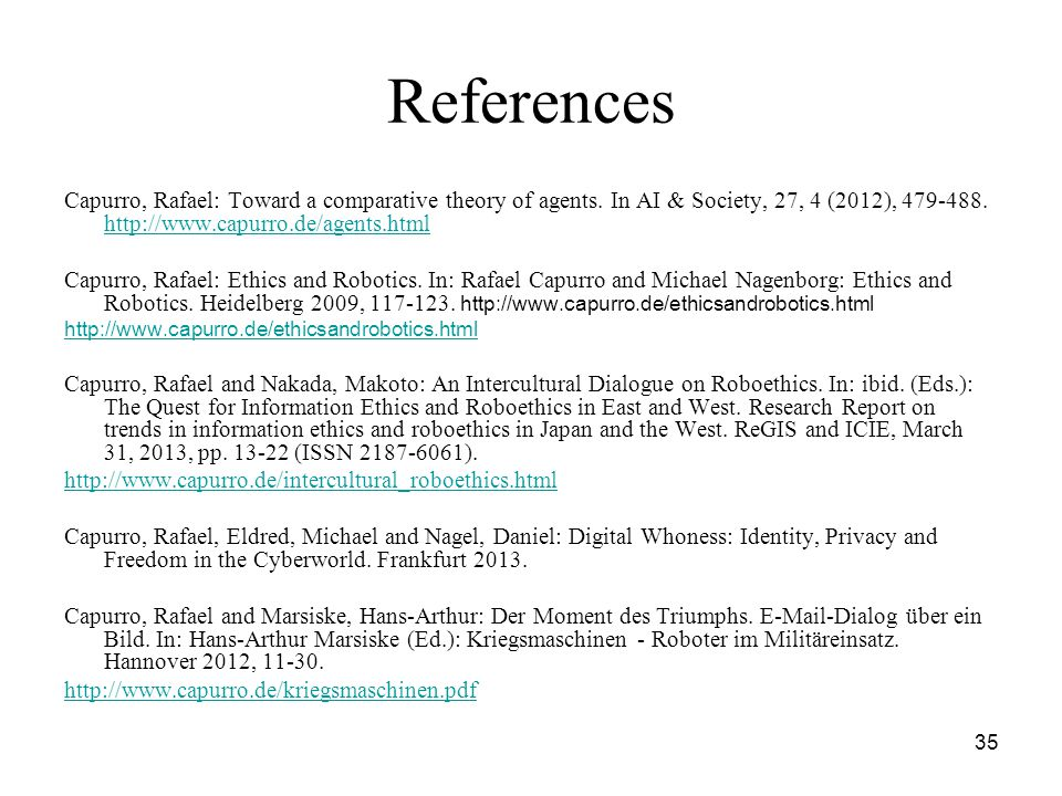35 References Capurro, Rafael: Toward a comparative theory of agents.