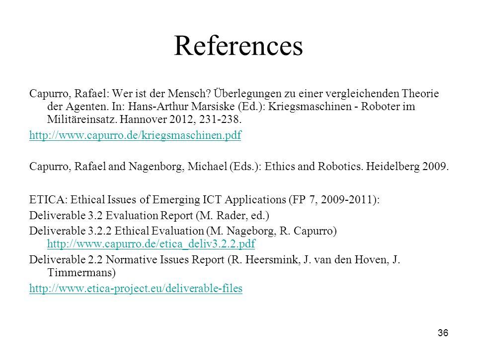 36 References Capurro, Rafael: Wer ist der Mensch.