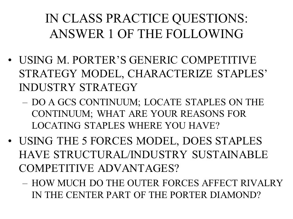 IN CLASS PRACTICE QUESTIONS: ANSWER 1 OF THE FOLLOWING USING M.