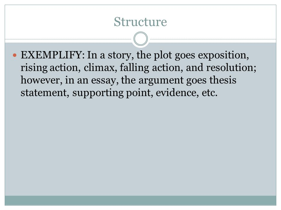 Structure EXEMPLIFY: In a story, the plot goes exposition, rising action, climax, falling action, and resolution; however, in an essay, the argument goes thesis statement, supporting point, evidence, etc.