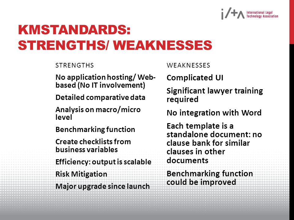 KMSTANDARDS: STRENGTHS/ WEAKNESSES STRENGTHS No application hosting/ Web- based (No IT involvement) Detailed comparative data Analysis on macro/micro level Benchmarking function Create checklists from business variables Efficiency: output is scalable Risk Mitigation Major upgrade since launch WEAKNESSES Complicated UI Significant lawyer training required No integration with Word Each template is a standalone document: no clause bank for similar clauses in other documents Benchmarking function could be improved