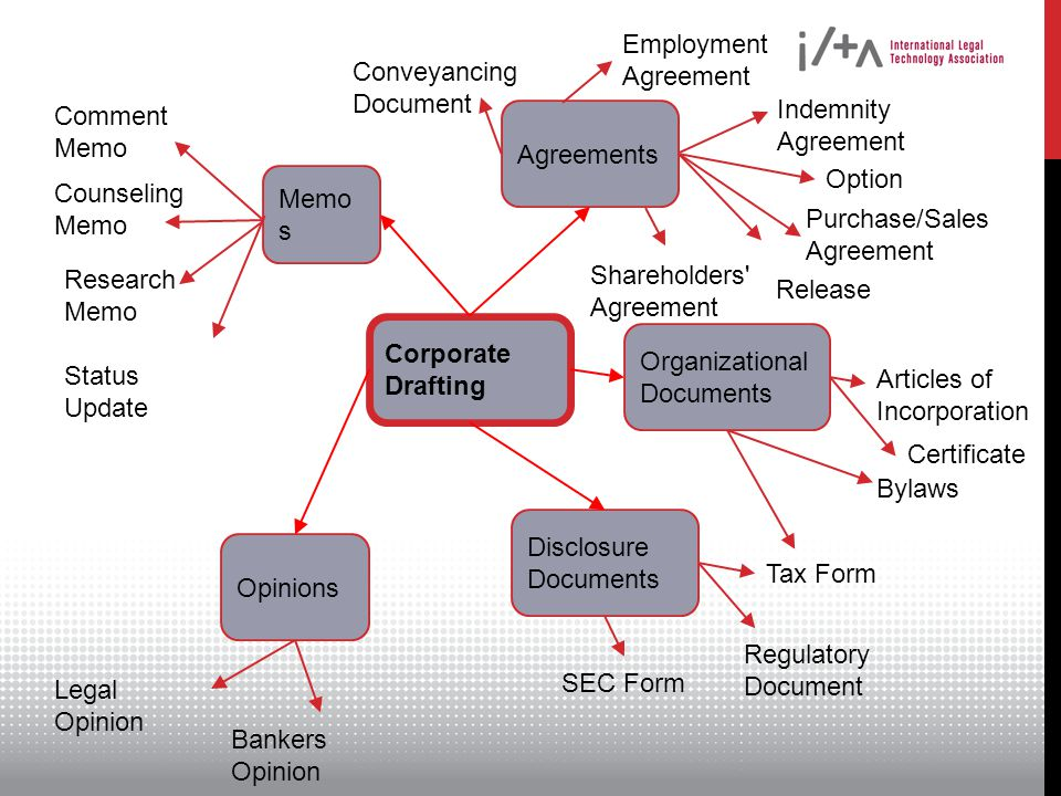Type of document Agreement/Contract Memo Opinion Type of agreement Organizational Transactional Partnership Agreement Shareholders Agreement Employment Agreement Non-Disclosure Agreement Purchase Agreement Category of agreement Senior executive Manager Office worker Variables General terms Deal-specific terms Necessary terms Unnecessary terms