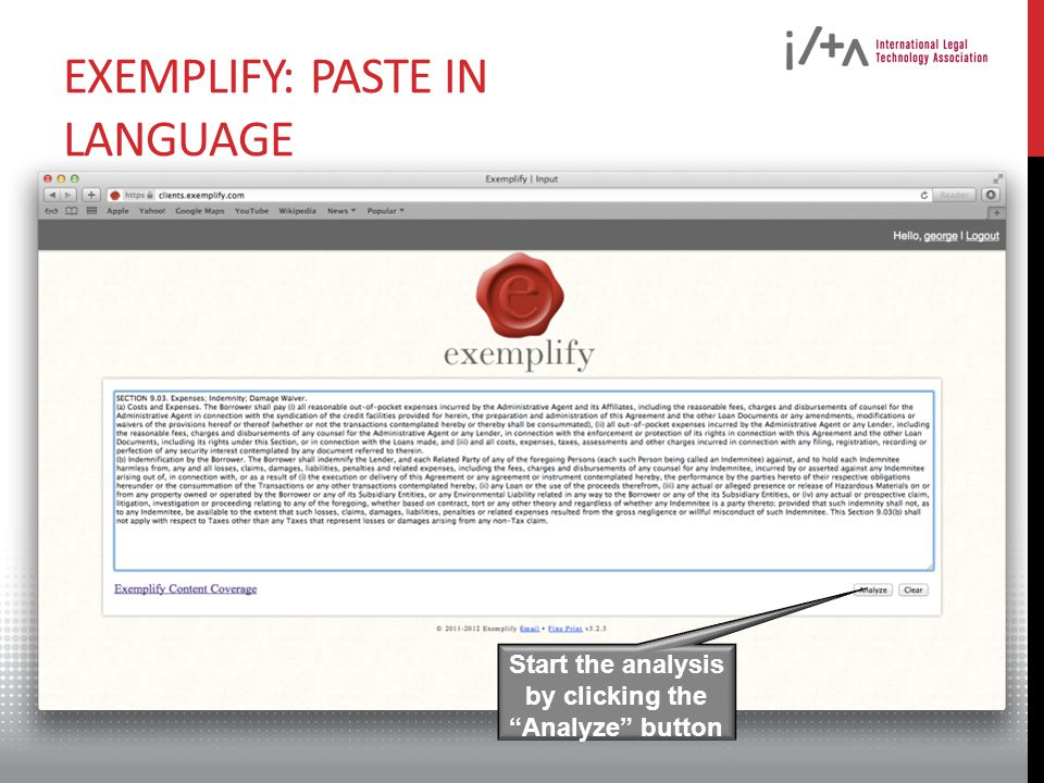 EXEMPLIFY: PASTE IN LANGUAGE Start the analysis by clicking the Analyze button