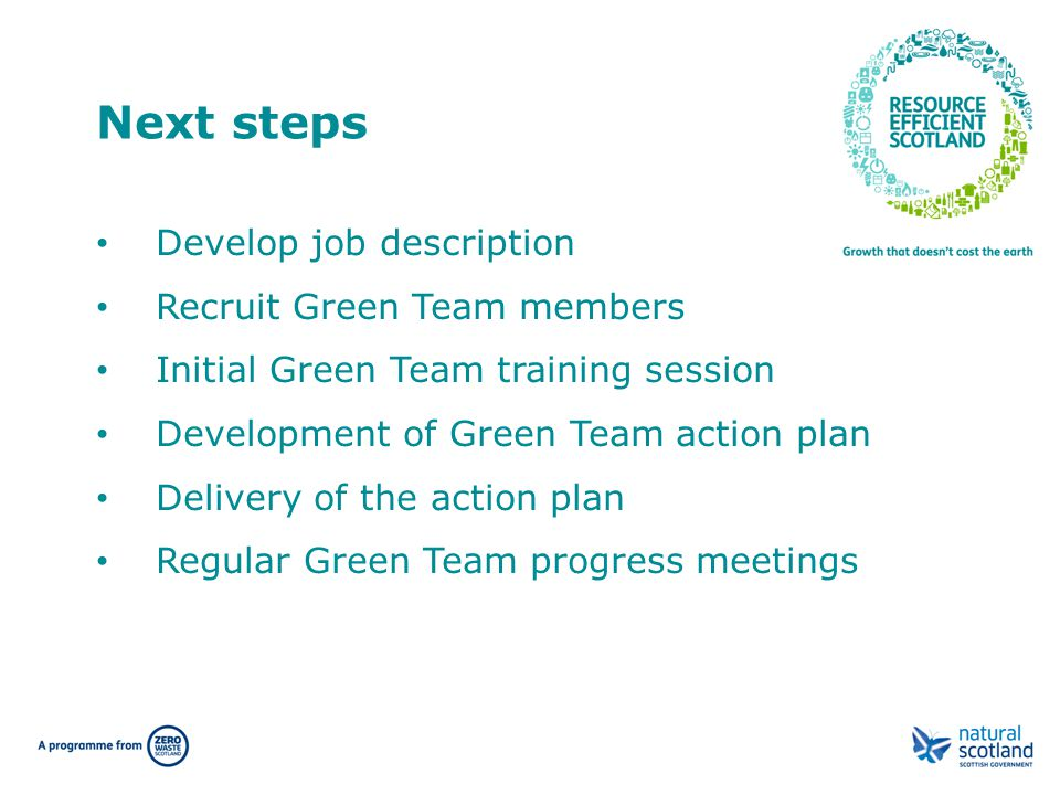 Next steps Develop job description Recruit Green Team members Initial Green Team training session Development of Green Team action plan Delivery of th