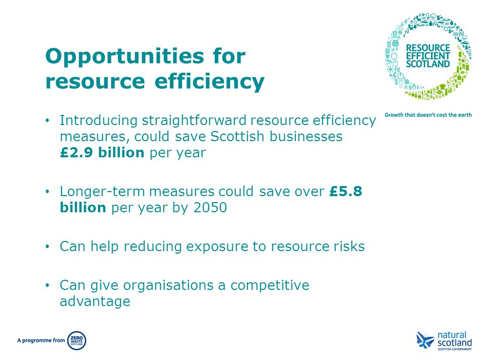 Introducing straightforward resource efficiency measures, could save Scottish businesses £2.9 billion per year Longer-term measures could save over £5.8 billion per year by 2050 Can help reducing exposure to resource risks Can give organisations a competitive advantage Opportunities for resource efficiency