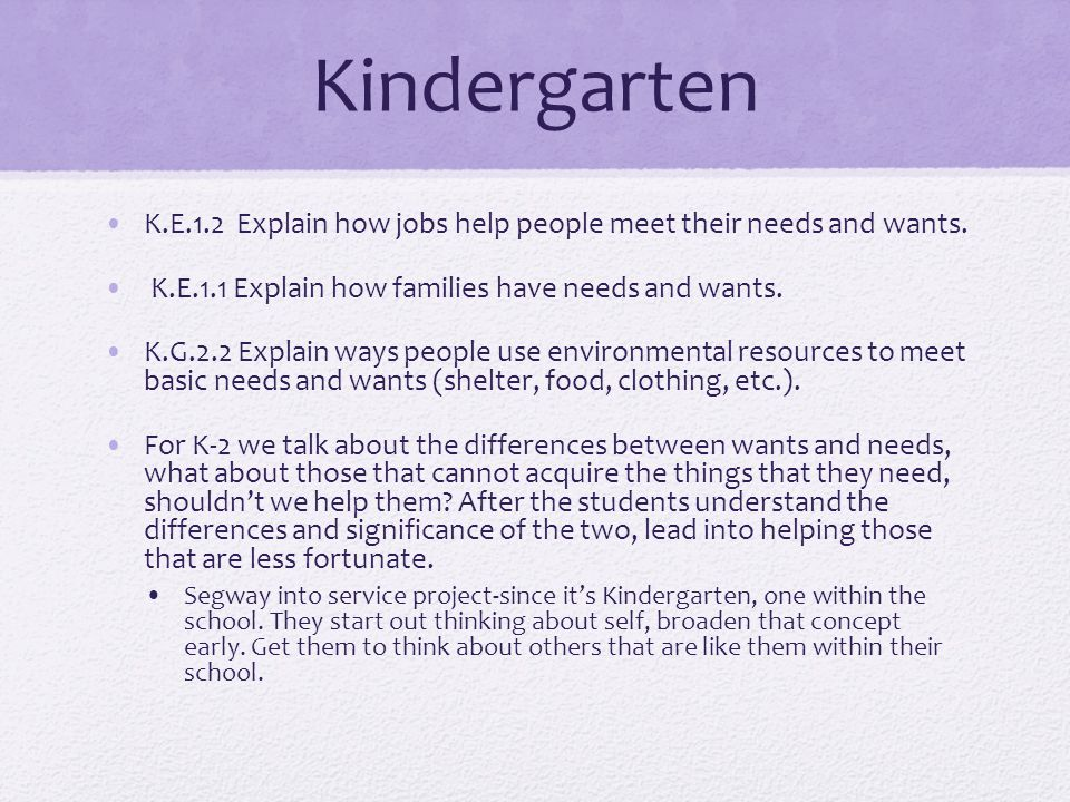 Kindergarten K.E.1.2 Explain how jobs help people meet their needs and wants. K.E.1.1 Explain how families have needs and wants. K.G.2.2 Explain ways