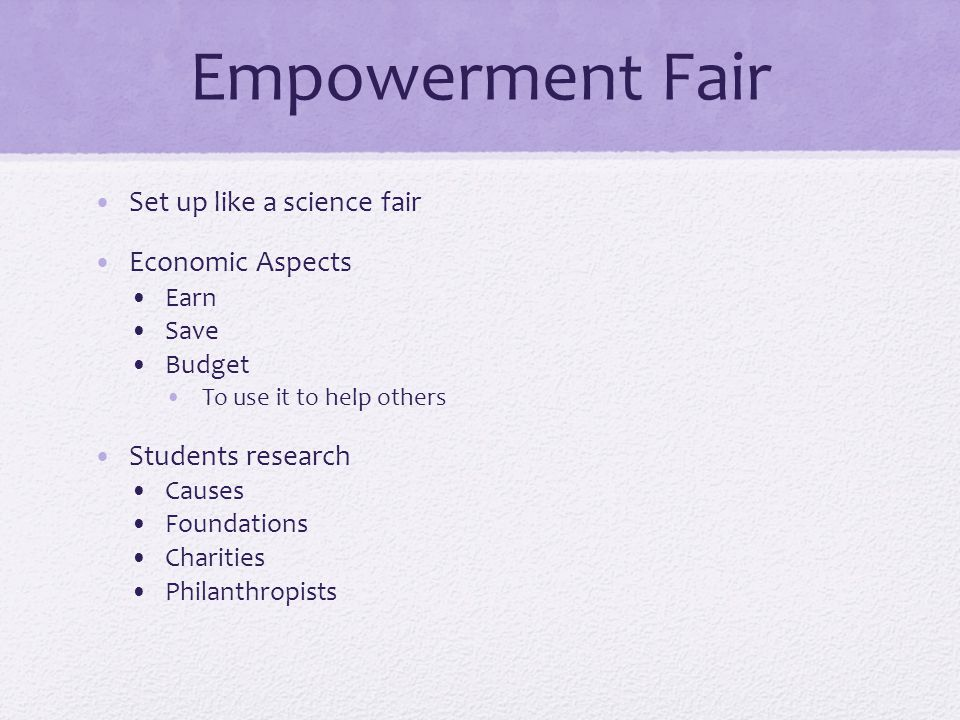 Empowerment Fair Set up like a science fair Economic Aspects Earn Save Budget To use it to help others Students research Causes Foundations Charities