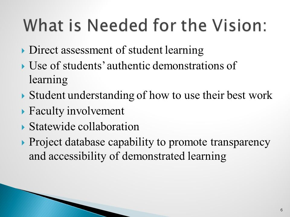  Direct assessment of student learning  Use of students' authentic demonstrations of learning  Student understanding of how to use their best work