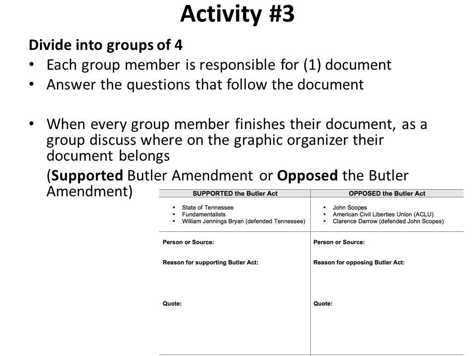 Activity #3 Divide into groups of 4 Each group member is responsible for (1) document Answer the questions that follow the document When every group m