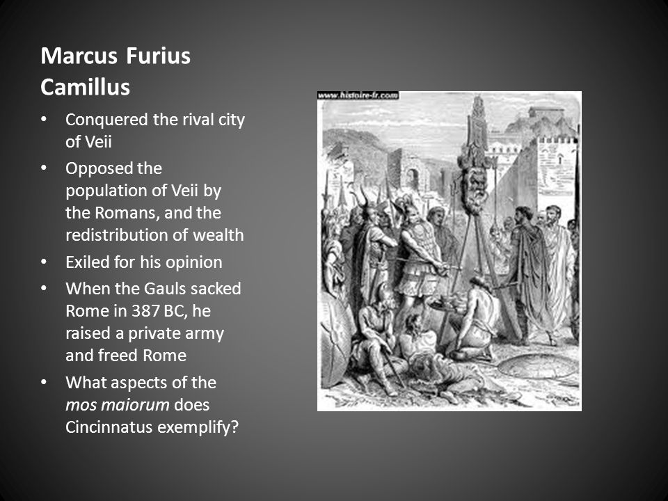 Publius Cornelius Scipio Africanus One of the Cornelii, a very old and prestigious family After 15 years of failed attempts, he drove Hannibal back to Carthage Defeated him in 204 BC What aspects of the mos maiorum does Cincinnatus exemplify?