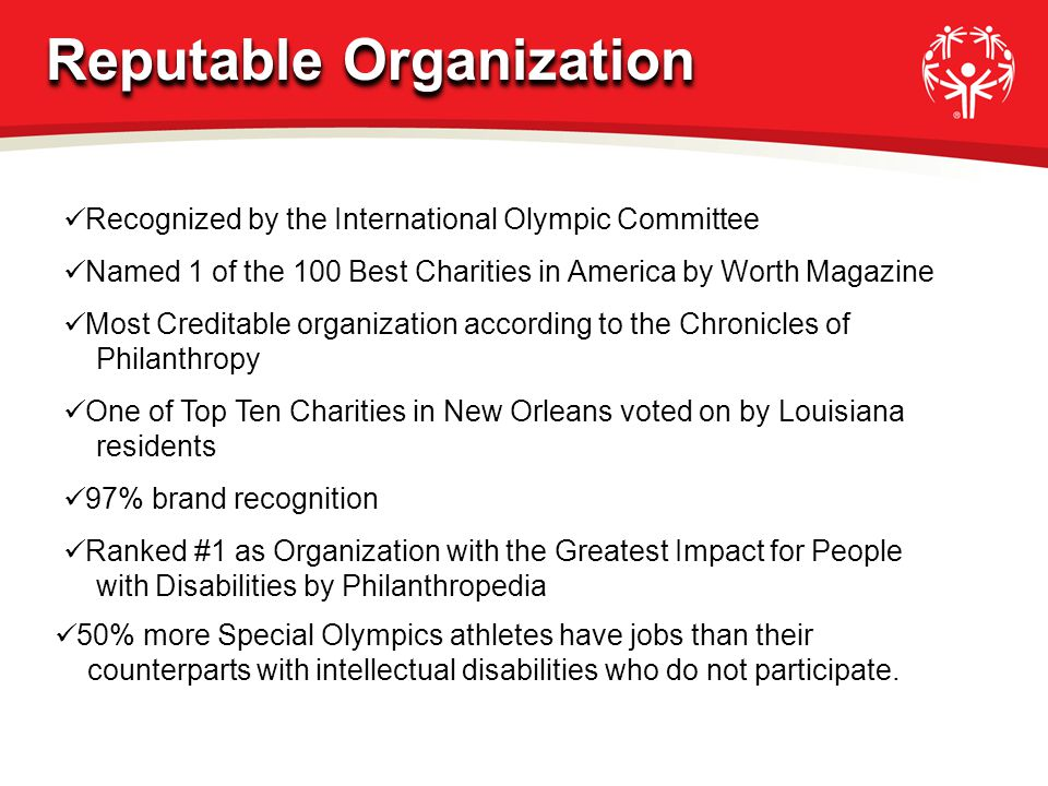 97% brand recognition One of Top Ten Charities in New Orleans voted on by Louisiana residents Most Creditable organization according to the Chronicles
