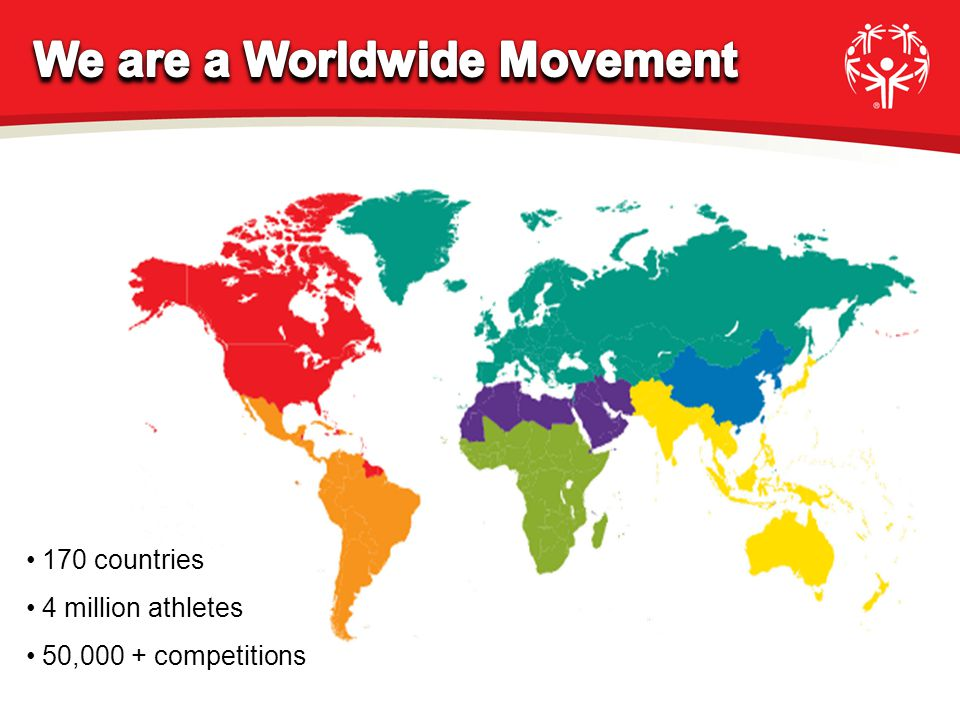 170 countries 4 million athletes 50,000 + competitions