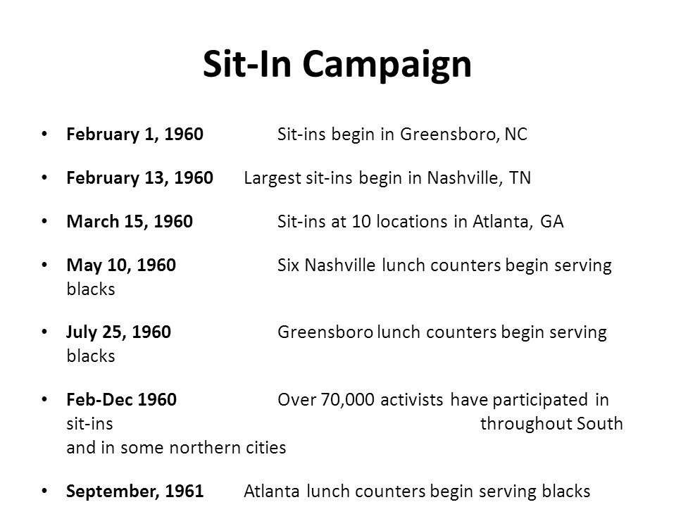 Sit-In Campaign February 1, 1960Sit-ins begin in Greensboro, NC February 13, 1960 Largest sit-ins begin in Nashville, TN March 15, 1960 Sit-ins at 10 locations in Atlanta, GA May 10, 1960 Six Nashville lunch counters begin serving blacks July 25, 1960 Greensboro lunch counters begin serving blacks Feb-Dec 1960 Over 70,000 activists have participated in sit-ins throughout South and in some northern cities September, 1961 Atlanta lunch counters begin serving blacks