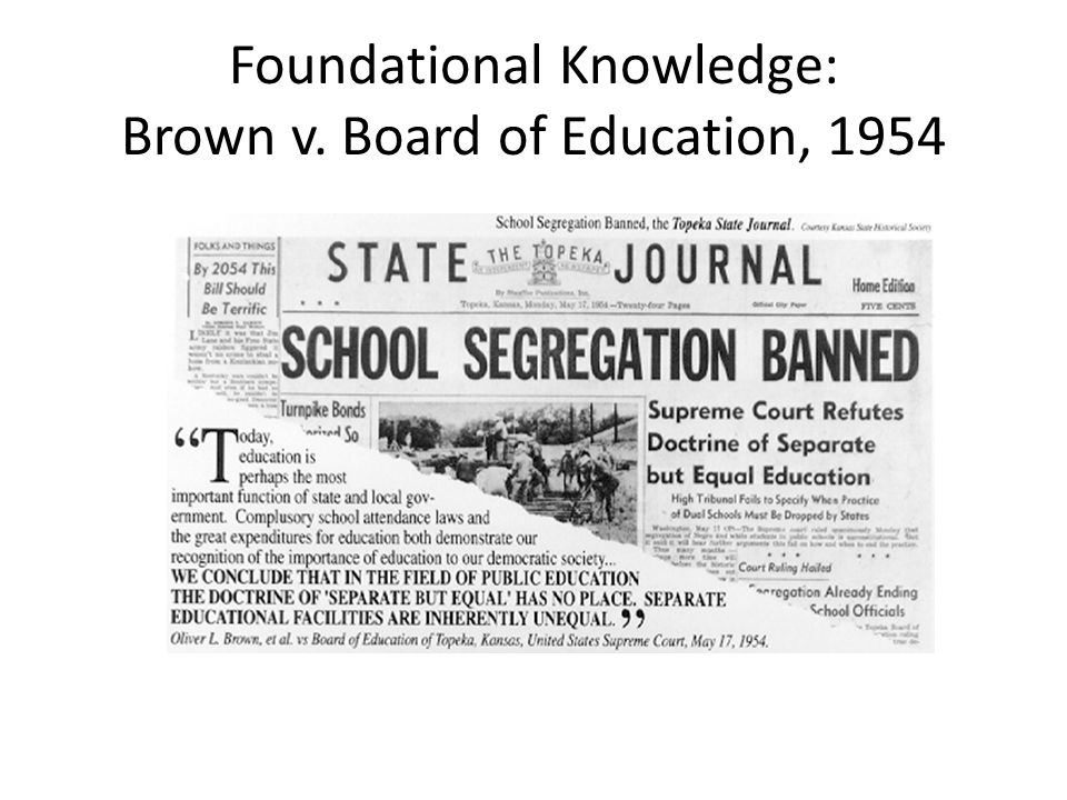 Foundational Knowledge: Brown v. Board of Education, 1954