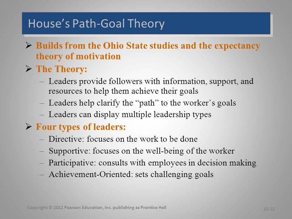 House's Path-Goal Theory  Builds from the Ohio State studies and the expectancy theory of motivation  The Theory: –Leaders provide followers with in