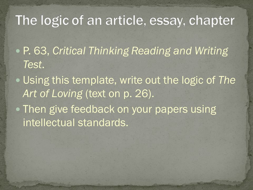 P. 63, Critical Thinking Reading and Writing Test.