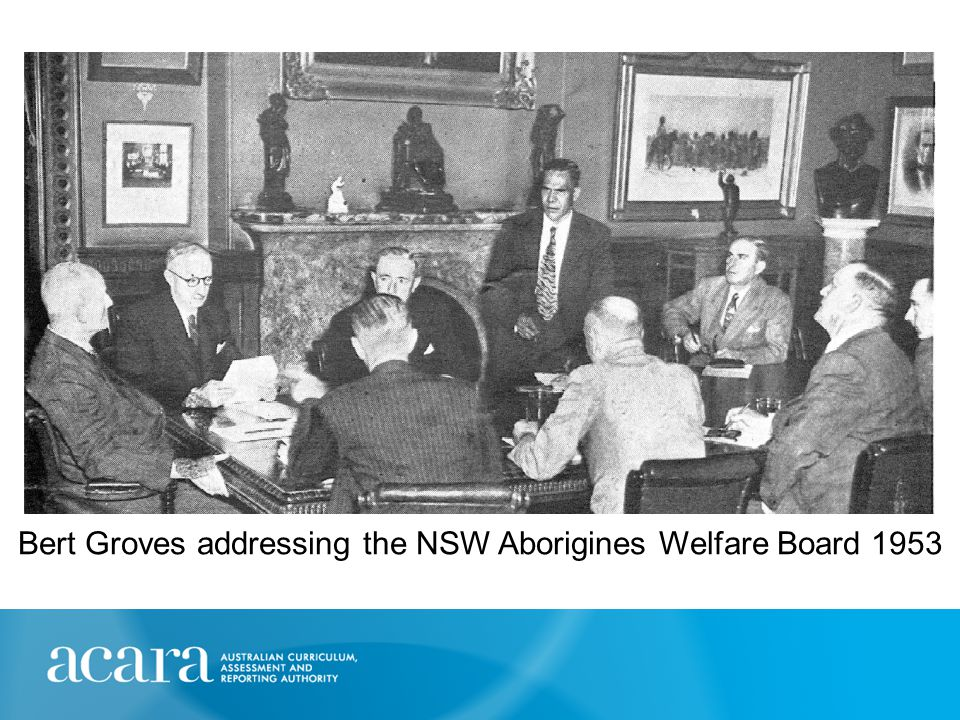 Bert Groves addressing the NSW Aborigines Welfare Board 1953