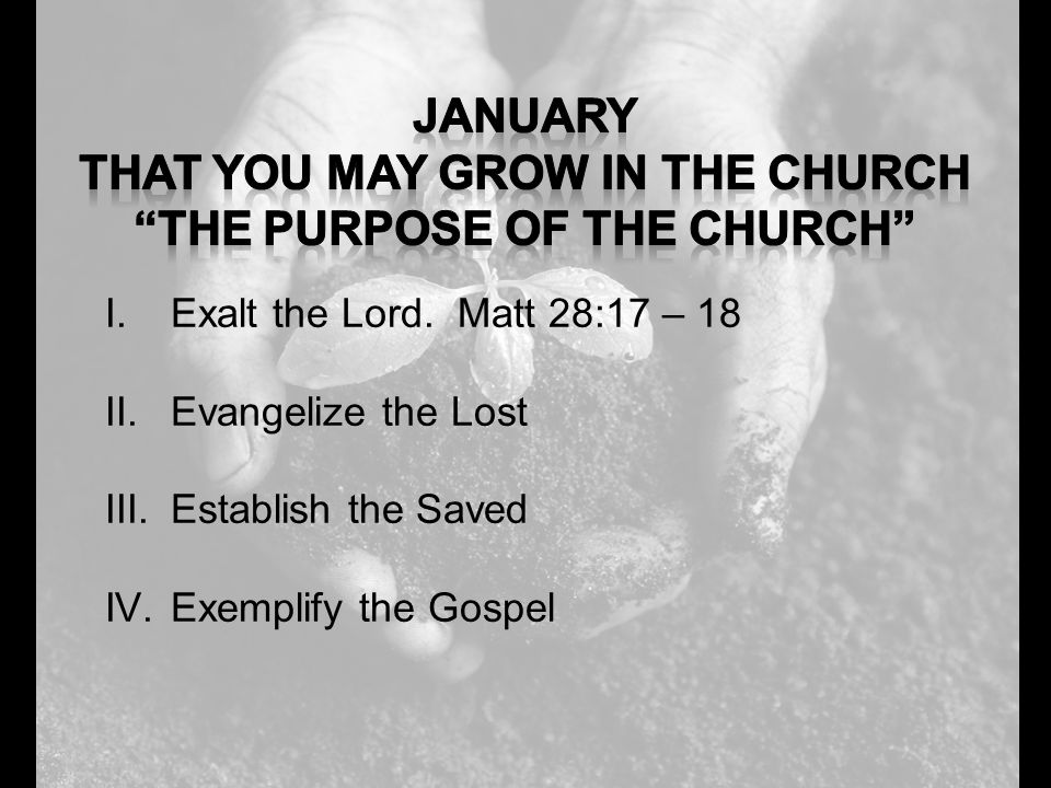 I.Exalt the Lord. Matt 28:17 – 18 II.Evangelize the Lost III.Establish the Saved IV.Exemplify the Gospel