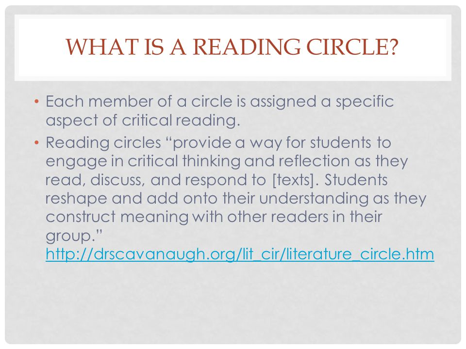 WHAT IS A READING CIRCLE.