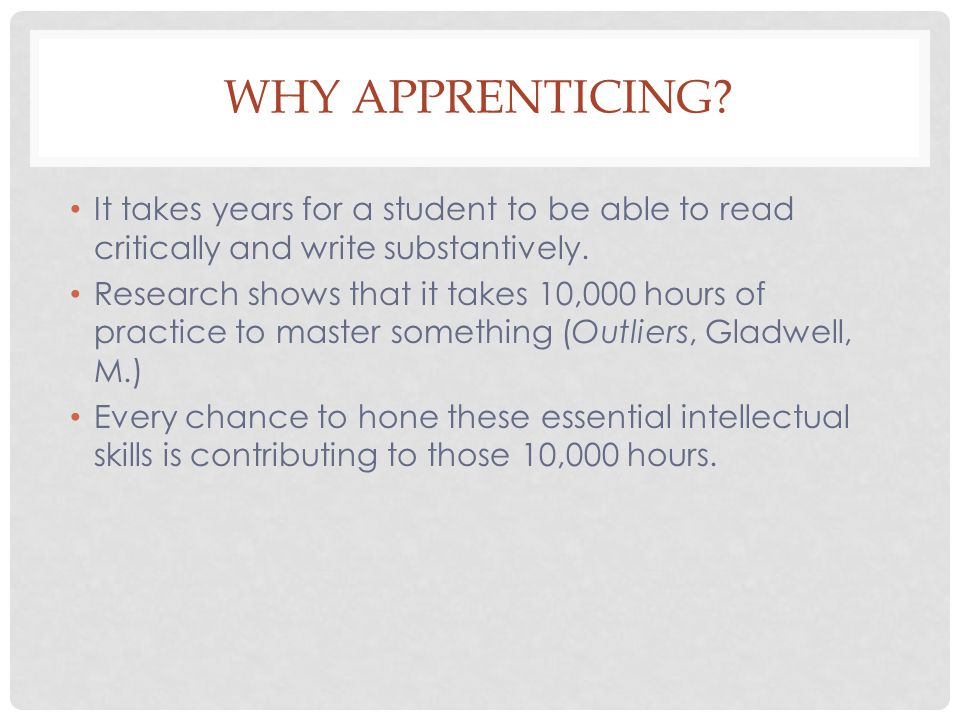 WHY APPRENTICING.