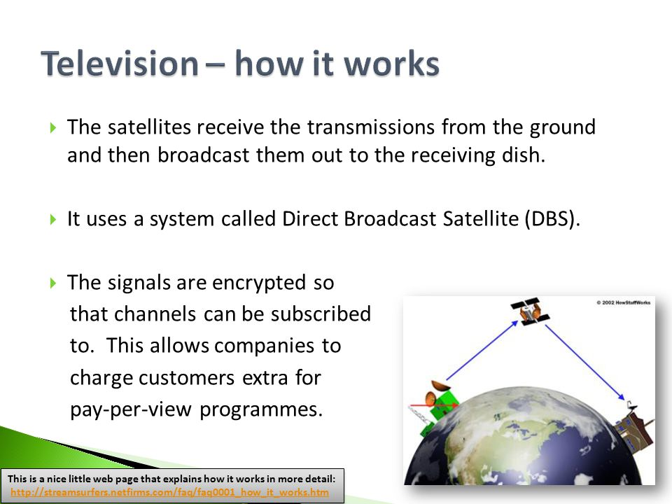  The satellites receive the transmissions from the ground and then broadcast them out to the receiving dish.