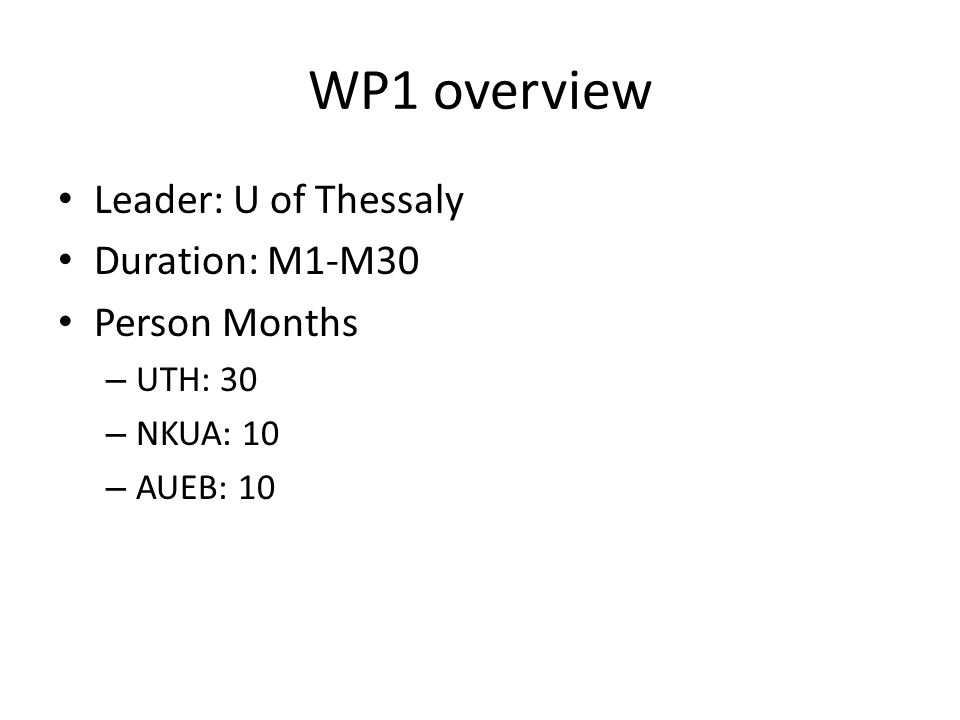 WP1 overview Leader: U of Thessaly Duration: M1-M30 Person Months – UTH: 30 – NKUA: 10 – AUEB: 10