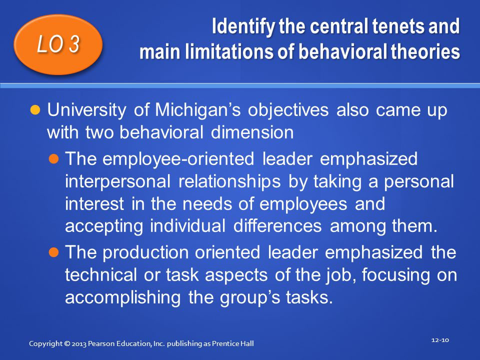 Identify the central tenets and main limitations of behavioral theories Copyright © 2013 Pearson Education, Inc. publishing as Prentice Hall 12-10 LO