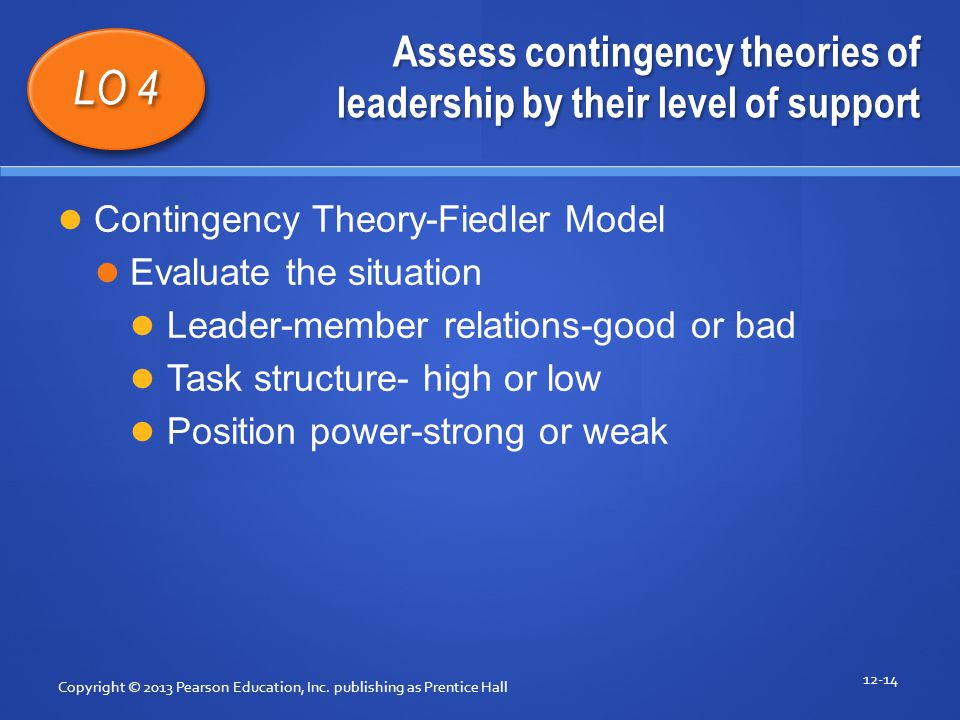 Assess contingency theories of leadership by their level of support Copyright © 2013 Pearson Education, Inc. publishing as Prentice Hall 12-14 LO 4 Co