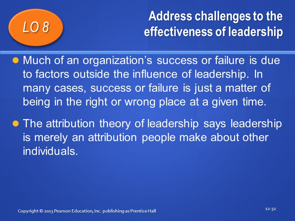 Address challenges to the effectiveness of leadership Copyright © 2013 Pearson Education, Inc. publishing as Prentice Hall 12-32 LO 8 Much of an organ