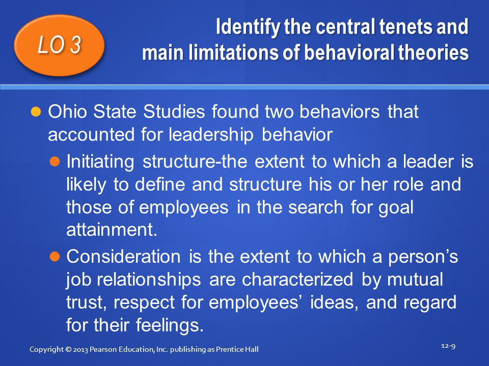 Identify the central tenets and main limitations of behavioral theories Copyright © 2013 Pearson Education, Inc.