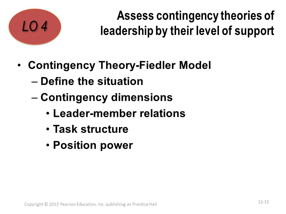 Assess contingency theories of leadership by their level of support Contingency Theory-Fiedler Model –Define the situation –Contingency dimensions Lea