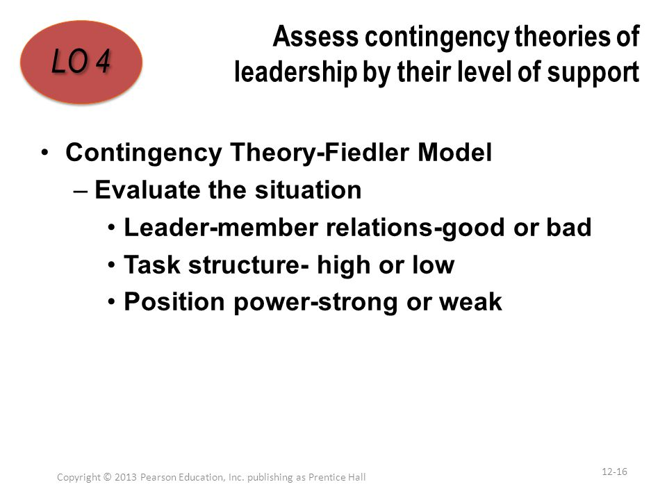 Assess contingency theories of leadership by their level of support Contingency Theory-Fiedler Model –Evaluate the situation Leader-member relations-g