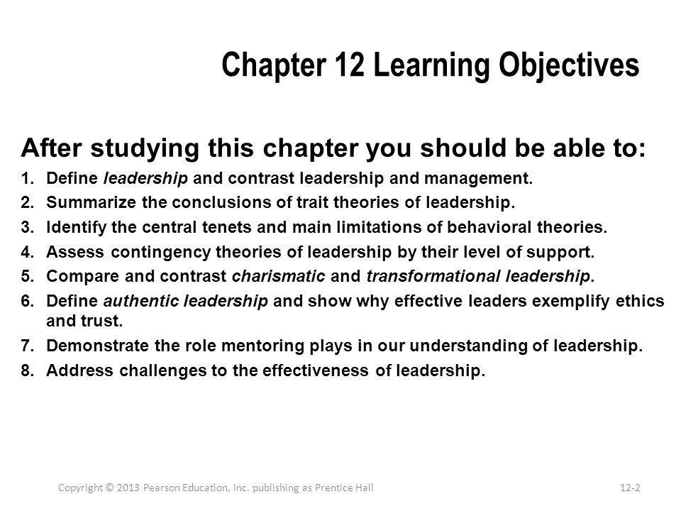 Chapter 12 Learning Objectives After studying this chapter you should be able to: 1.Define leadership and contrast leadership and management. 2.Summar