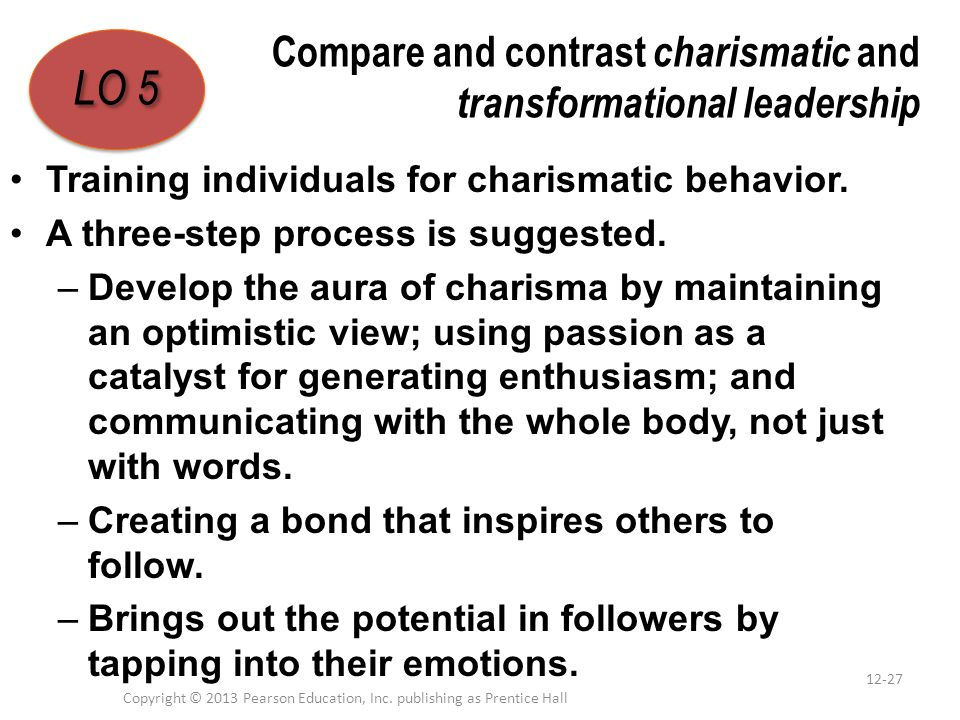 Compare and contrast charismatic and transformational leadership Training individuals for charismatic behavior. A three-step process is suggested. –De