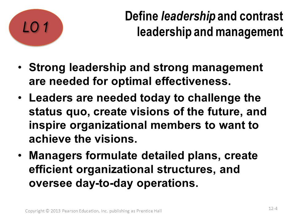 Define leadership and contrast leadership and management Strong leadership and strong management are needed for optimal effectiveness. Leaders are nee