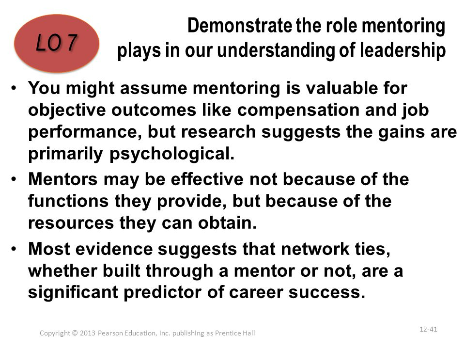 Demonstrate the role mentoring plays in our understanding of leadership You might assume mentoring is valuable for objective outcomes like compensatio