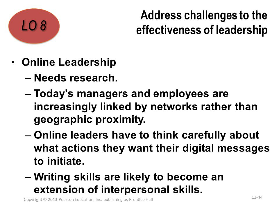 Address challenges to the effectiveness of leadership Online Leadership –Needs research. –Today's managers and employees are increasingly linked by ne