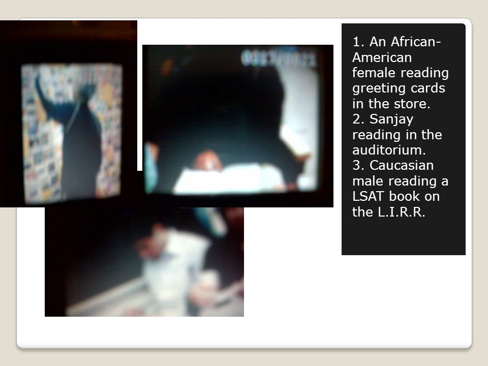 1.An African- American female reading greeting cards in the store.