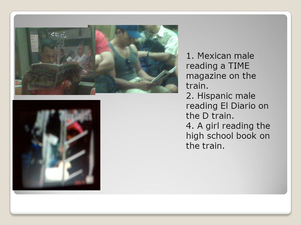 1. Mexican male reading a TIME magazine on the train.