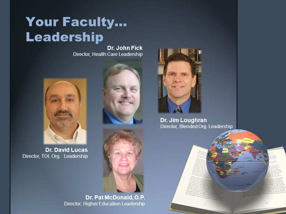 Your Faculty… Leadership Dr. John Fick Director, Health Care Leadership Dr. Jim Loughran Director, Blended Org. Leadership Dr. David Lucas Director, T